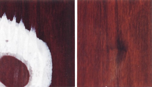Example of white water marks on a wood table, which can be removed with Wood Elixir - before and after photo