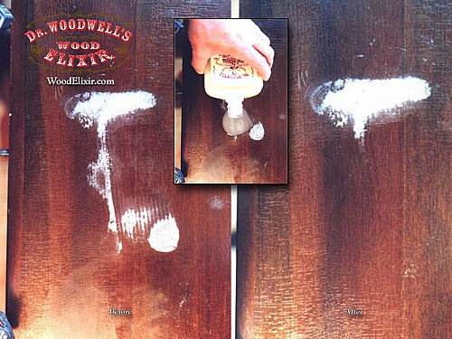White water marks being removed from a wood table using Wood Elixir