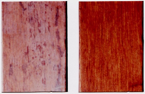 How to treat a worn-off wood finish - before and after photo