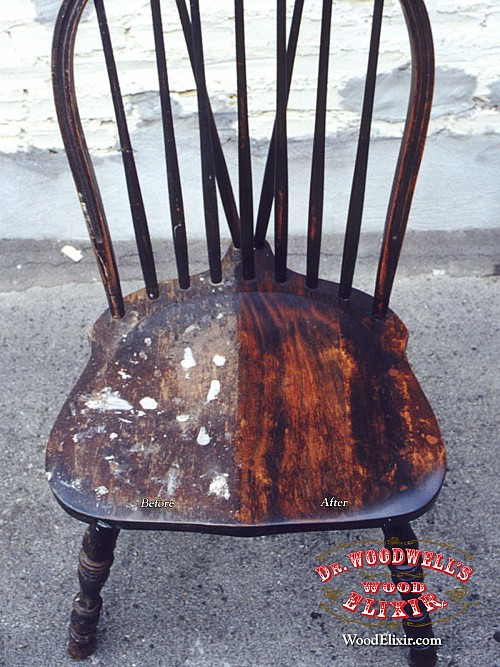 Removing paint splatters from a wood chair using Wood Elixir
